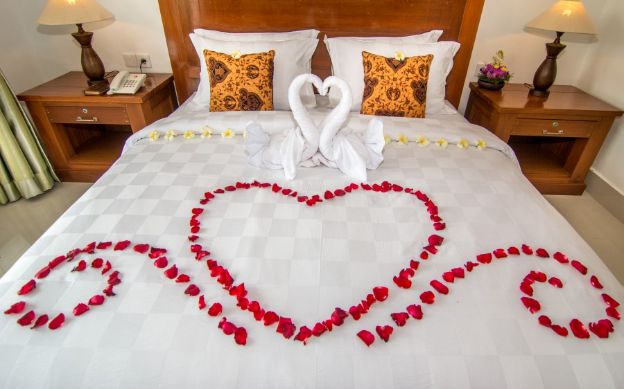 Suite room with private balcony for Bed decoration anniversary